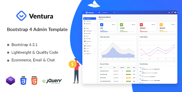 Ventura - Simple Responsive Bootstrap 4 Admin Dashboard Template by dreamguys