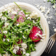 Top view at clay dish with beetroot arugula and feta cheese sala - PhotoDune Item for Sale