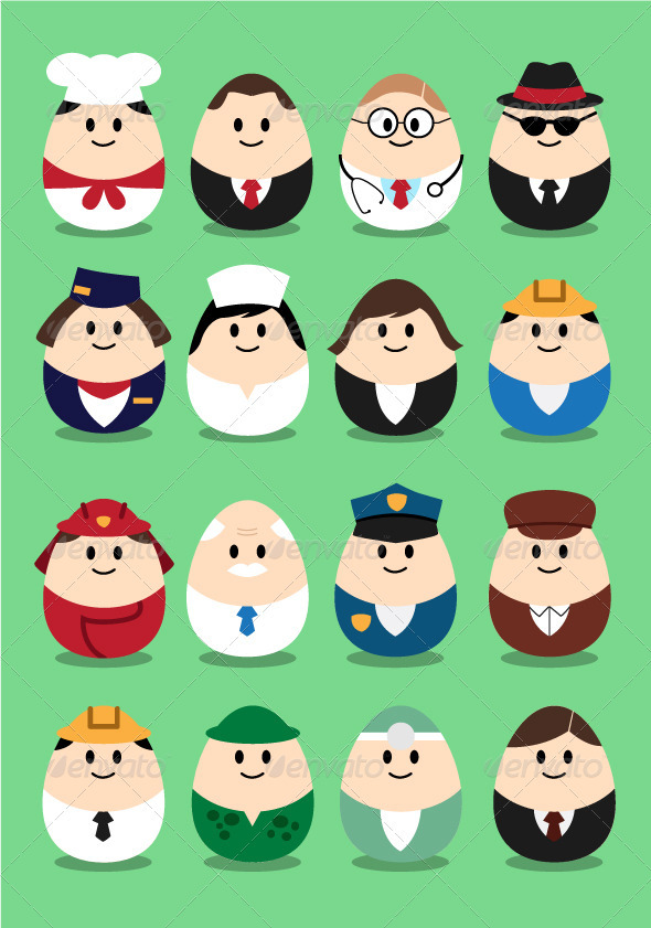 Profession Eggs - Characters Vectors