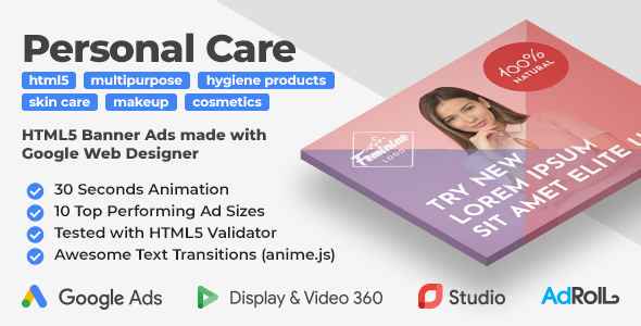 Feminine - Personal Care HTML5 Banner Ad Templates (GWD, anime.js)
