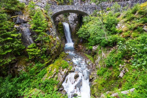 Waterfall in Rainier - Stock Photo - Images