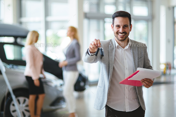 auto business, car sale, consumerism and people concept - Stock Photo - Images
