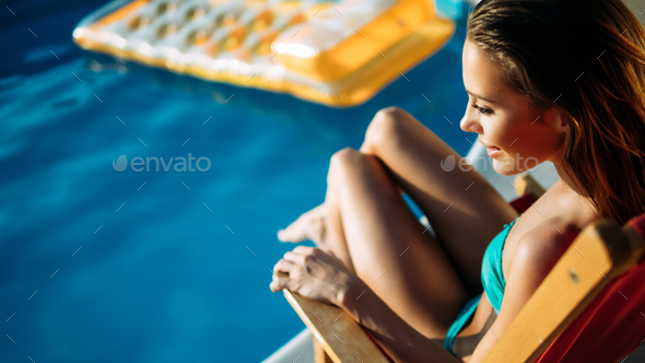 Woman Summer Fashion. Happy Sexy Smiling Girl With Fit Body - Stock Photo - Images