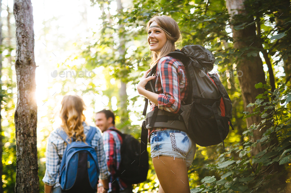 Group of people hiking in forest - Stock Photo - Images