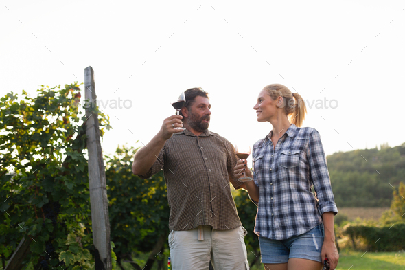 Picture of people tasting red wine in vineyard - Stock Photo - Images