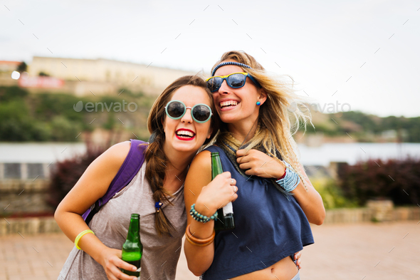 Young happy women having fun time together - Stock Photo - Images