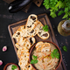 Baba ghanoush vegan hummus from eggplant with seasoning, parsley and toasts. - PhotoDune Item for Sale