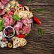 Antipasto platter with ham, prosciutto, salami, blue cheese, mozzarella with pesto - PhotoDune Item for Sale