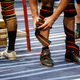 legs athlete powerlifter in knee wraps at powerlifting competition - PhotoDune Item for Sale