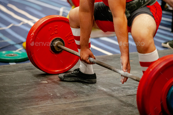 men powerlifter start attempt deadlift competition in powerlifting - Stock Photo - Images