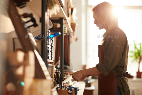 Woman in Crafting Workshop - Stock Photo - Images