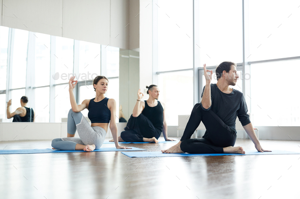 Strengthening spinal core at yoga practice - Stock Photo - Images