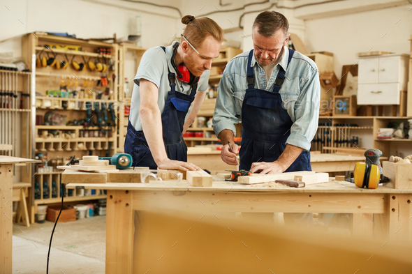 Teaching Apprentice in Joinery - Stock Photo - Images