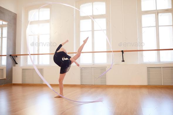 Gymnastics with Ribbon - Stock Photo - Images