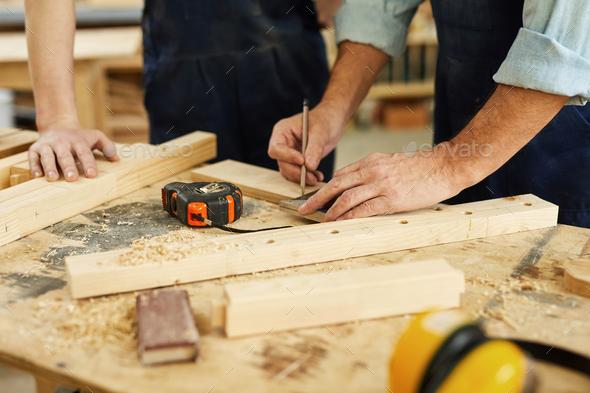 Carpenter Marking Wood Closeup - Stock Photo - Images
