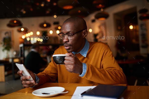 Client in Coffee Shop - Stock Photo - Images