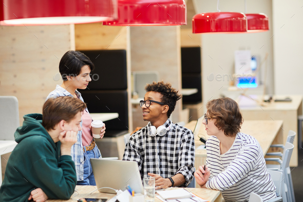 Students in modern cafe - Stock Photo - Images