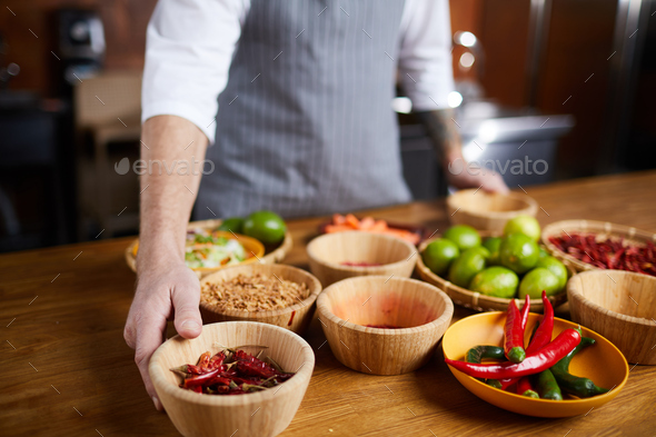 Chef Choosing Spices - Stock Photo - Images