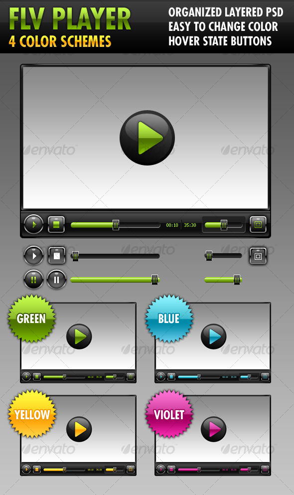 FLV Player (4 color schemes) - Web Elements