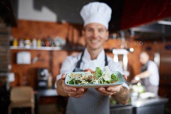 Chef Presenting Dish - Stock Photo - Images