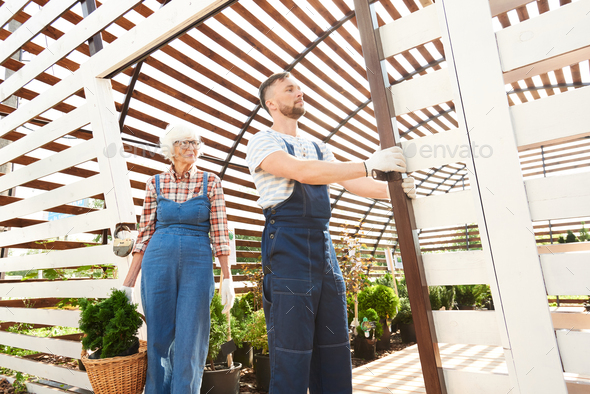 Two Gardeners Working in Plantation - Stock Photo - Images