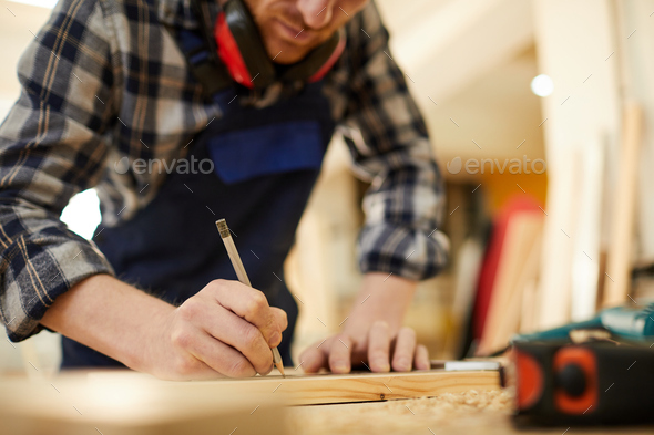 Carpenter Drawing Sketch - Stock Photo - Images