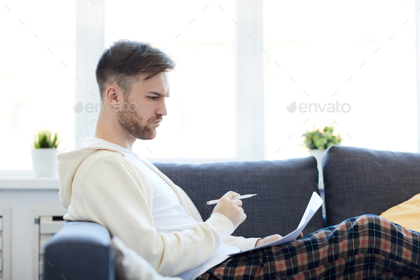 Man Working at Home - Stock Photo - Images