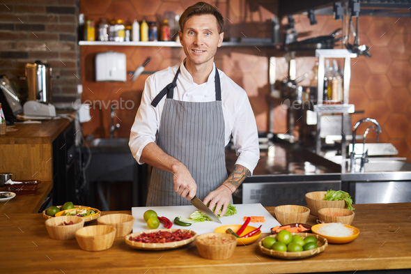 Male Chef Cooking Spicy Food - Stock Photo - Images