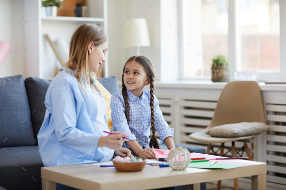 Mother and Daughter at Home - Stock Photo - Images