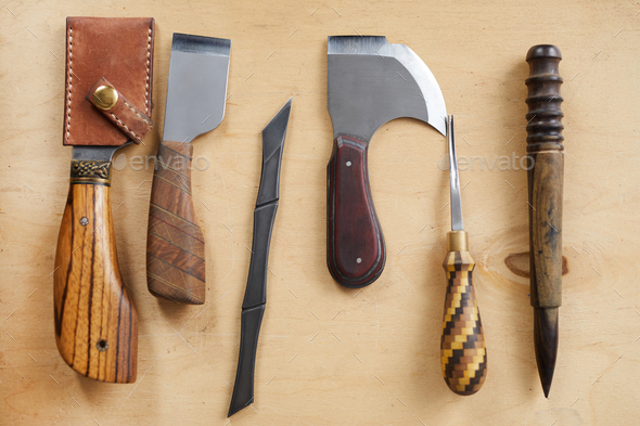 Leatherwork Tools on Table - Stock Photo - Images