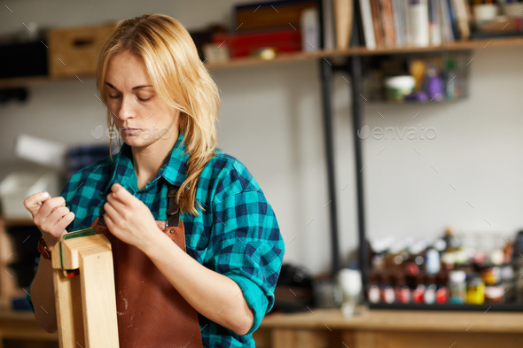 Woman Making Leather Bag - Stock Photo - Images