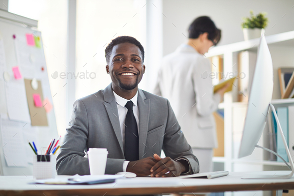 Cheerful businessman - Stock Photo - Images