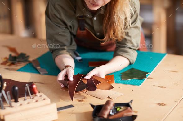 Female Leather Craftsman - Stock Photo - Images