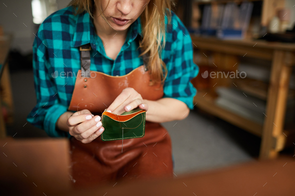 Handmade Leather wallet - Stock Photo - Images