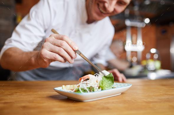 Chef Plating Gourmet Dish Closeup - Stock Photo - Images