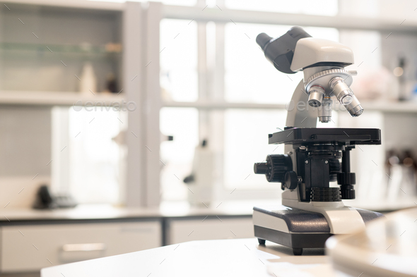 Microscope in laboratory - Stock Photo - Images