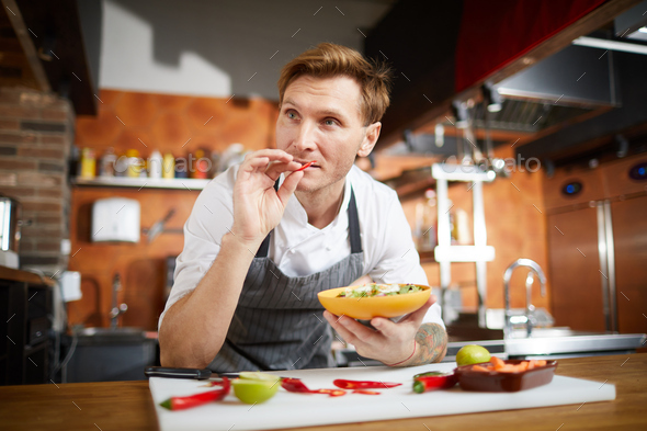 Chef Cooking Vegetable Salad - Stock Photo - Images