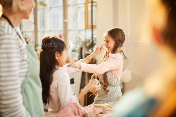 Girls Having Fun in Art Class - Stock Photo - Images