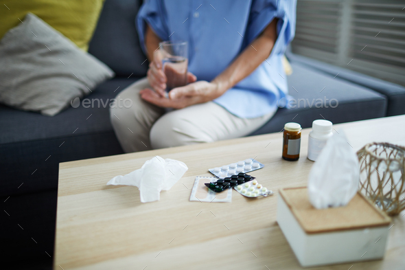 Woman Taking Pills - Stock Photo - Images