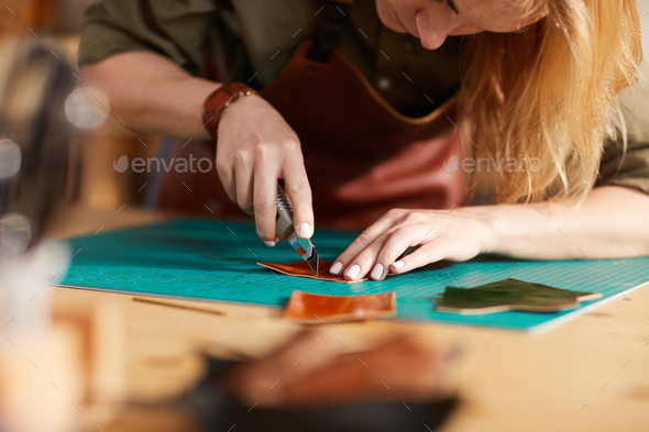 Leather Craftsman Closeup - Stock Photo - Images