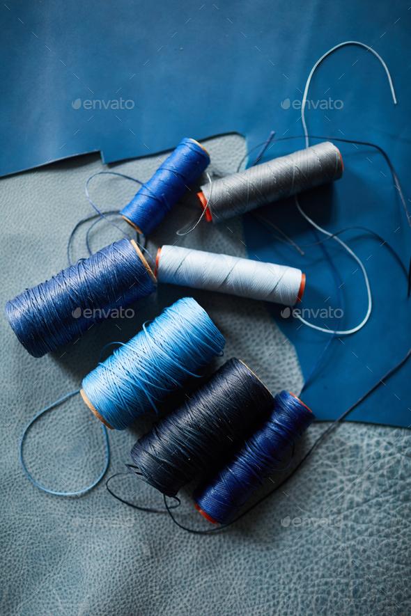 Blue Leather Background - Stock Photo - Images