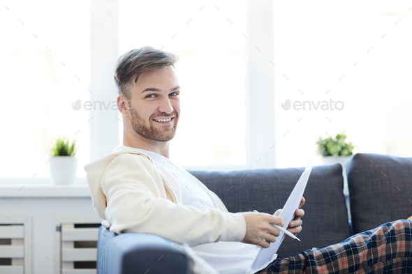 Handsome Man at Home - Stock Photo - Images