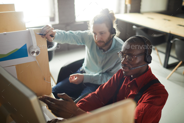 Office Workers in Cubicles - Stock Photo - Images
