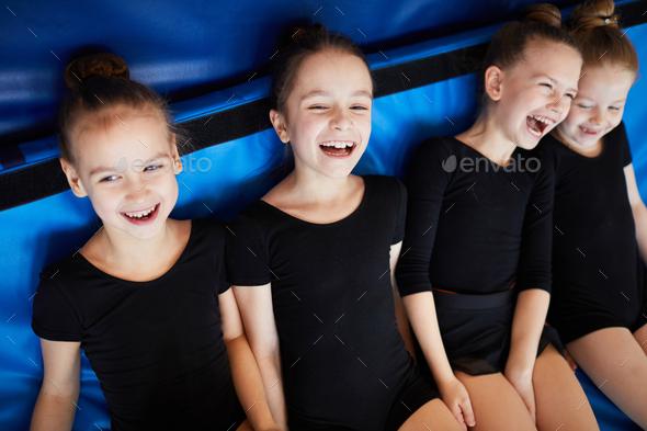 Girls Having fun in PE - Stock Photo - Images