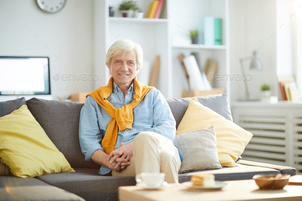 Smiling Senior Man at Home - Stock Photo - Images
