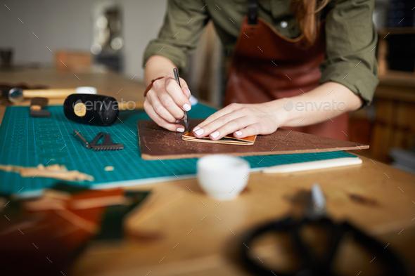 Leatherworking Close up - Stock Photo - Images