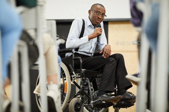 Disabled motivational speaker at conference - Stock Photo - Images