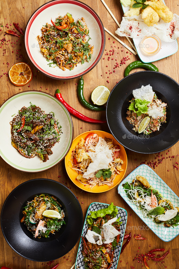 Spicy Asian Food on Table - Stock Photo - Images