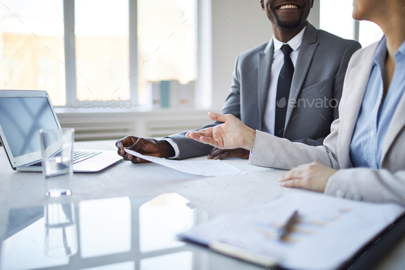 Discussing contract points - Stock Photo - Images