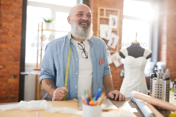 Bearded tailor - Stock Photo - Images